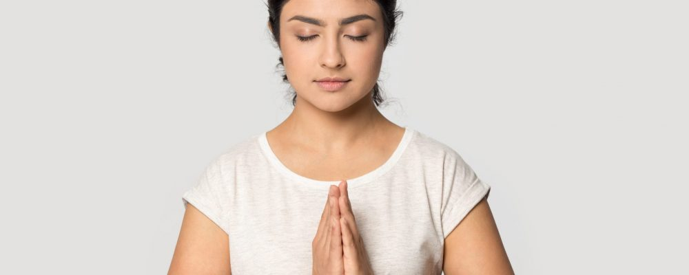 Mindful,Calm,Indian,Ethnicity,Female,Prayer,Joined,Hands,,Sincerely,Asking